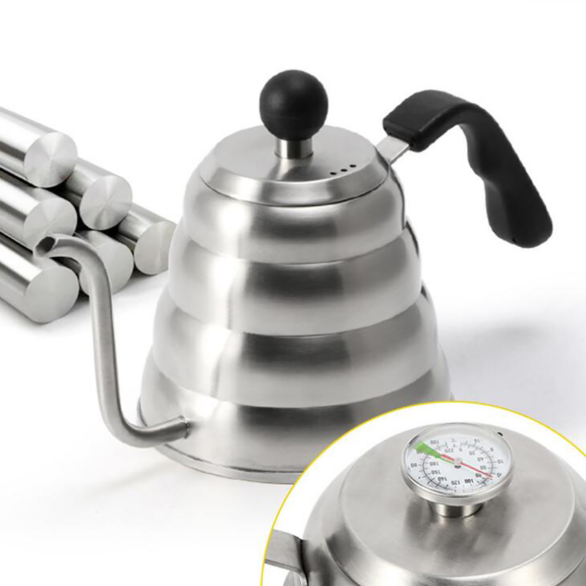1L/1.2L Cloud Pot 304 Stainless Steel Fine Long Spout Kettle Hand Coffee Maker Retro Hourglass With Thermometer Customize LOGO|Coffee Pots| |  - title=