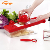 VOGVIGO Multifunctional Vegetable Cutter Mandoline Slicer Box With 6 Stainless Steel Blade Slicer Potato Carrot Dicer