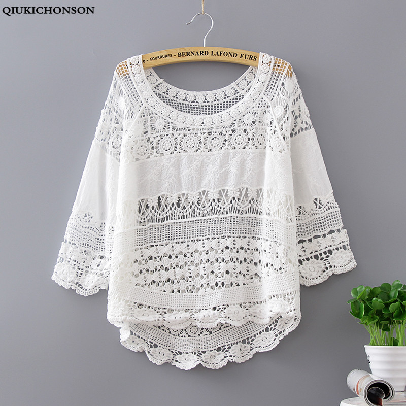 Qiukichonson Summer Hollow Out Tshirt Knitted Cotton Short Tee Loose Women Crochet Floral O-Neck Half Sleeve Knitted Casual Tops