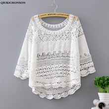 Qiukichonson Summer Hollow Out Tshirt Knitted Cotton Short Tee Loose Women Crochet Floral O-Neck Half Sleeve Casual Tops