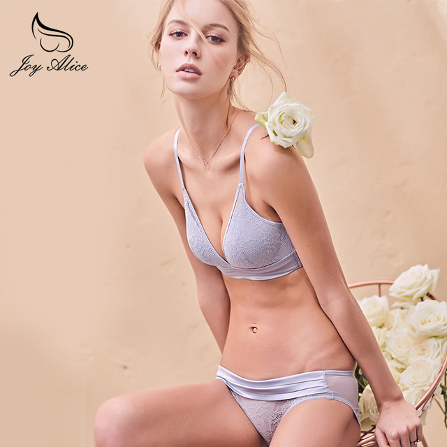9a6ab3ac7c7ef high-grade bra set new design wire free bra   briefs set lace underwear  women panties comfort push up lingerie