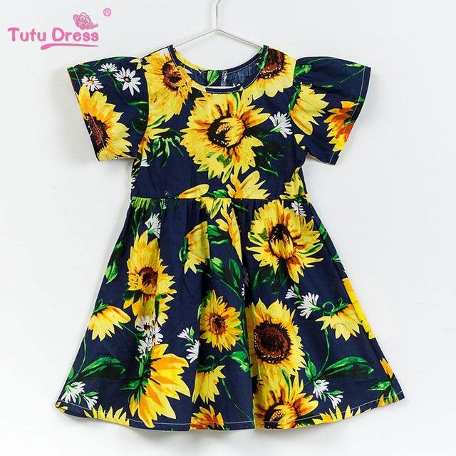 fc23b1cc2c Meninas do bebê Roupas de Praia Da Marca de Verão Estilo Floral Impressão Girassol  Vestido de