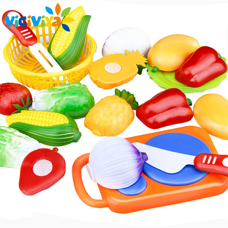 VICIVIYA 12 Pcs / Pack Cutting Fruit Vegetable Pretend Play Children Kid Educational Toy Pretend Play Toys For Children ~