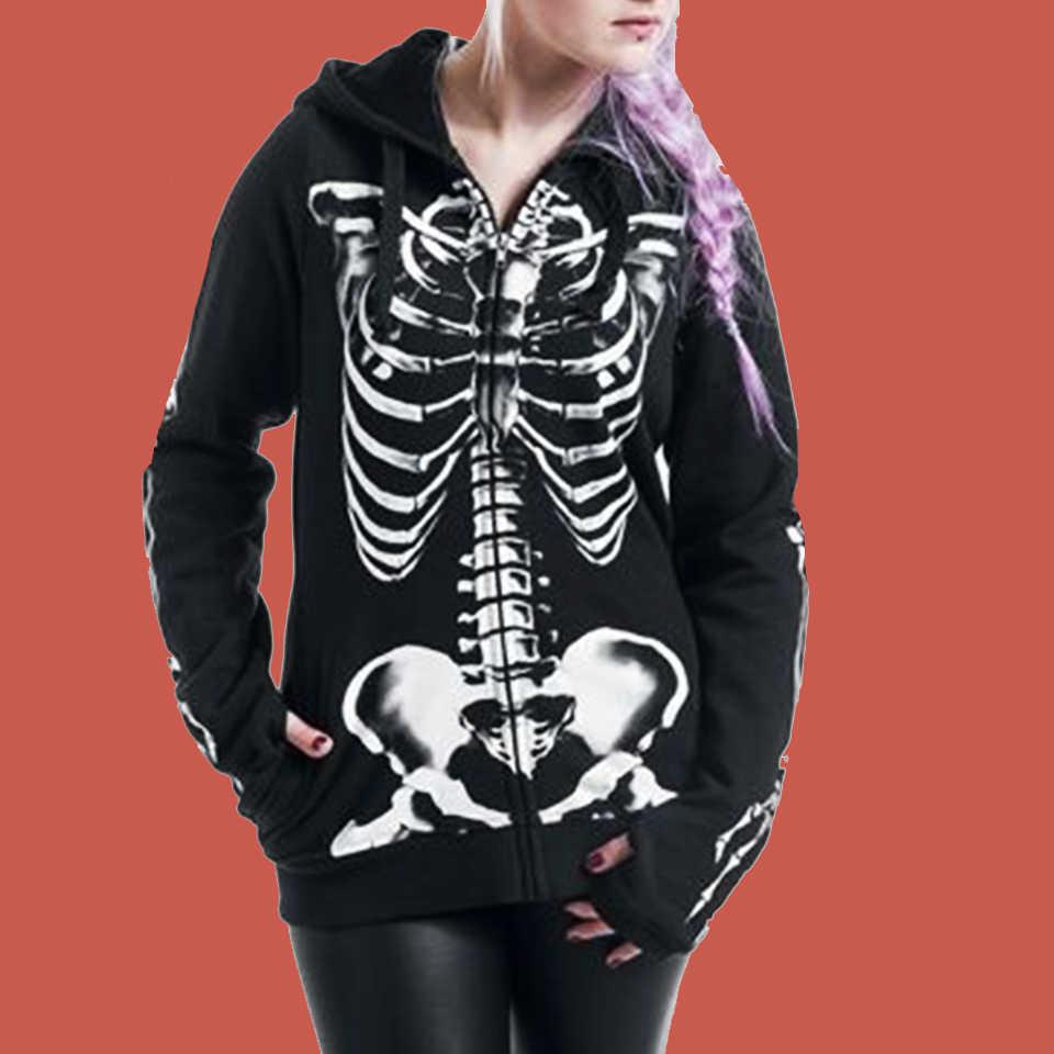 Dark Gothic Hoodie Skeleton Sweatshirt Print Poleron Mujer
