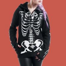Dark Gothic Hoodie Skeleton Sweatshirt Print Poleron Mujer 2019 Harajuku Punk Women Zip Up Hoodie 5xl Plus Size Hoodie Lace Up zip up lightning print plus size flocking hoodie and pants twinset