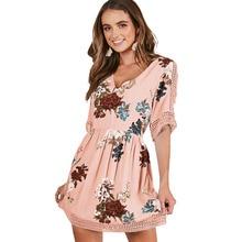 2018 summer women dress short sleeve floral V-neck beach dress lace high waist Boho A-line dress Hollow Out casual vestido