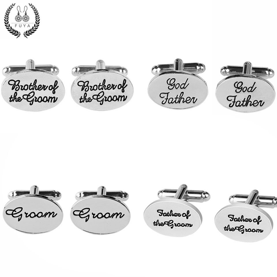 Trendy father brother of the groom son letters cufflinks for mens shirt jewelry Wedding party twins cufflinks buttons gifts