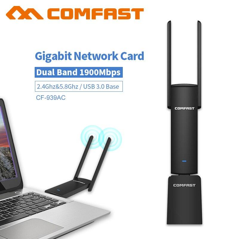 COMFAST Gigabit USB adaptateur wifi 1900 Mbps 2.4 Ghz et 5.8 Ghz Dual Band clé wi-fi Plug And Play AC carte réseau USB wifi Antenne