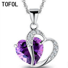 TOFOL 10 Colors Women Necklace Pendant Heart Crystal Jewelry Female Love Engagement Wedding Gift Dropshipping