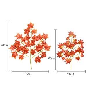Image 4 - Новое поступление, искусственные шелковые кленовые листья для дома, украшения для свадебной вечеринки, разноцветные осенние яркие искусственные листья для декора листьев