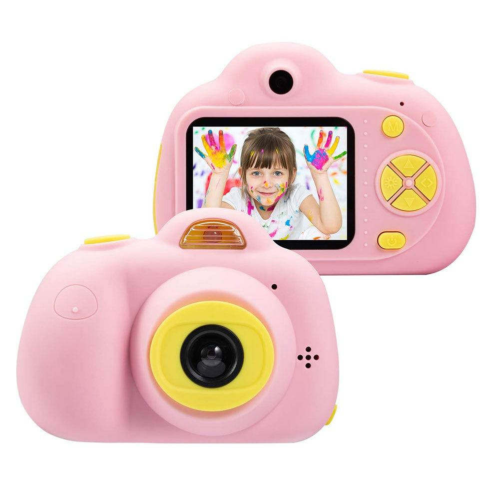 Enfant jouet caméra Support TF carte 2 pouces enfants passer appareil photo numérique enfant photographie mode petit reflex rose bleu 1080 p