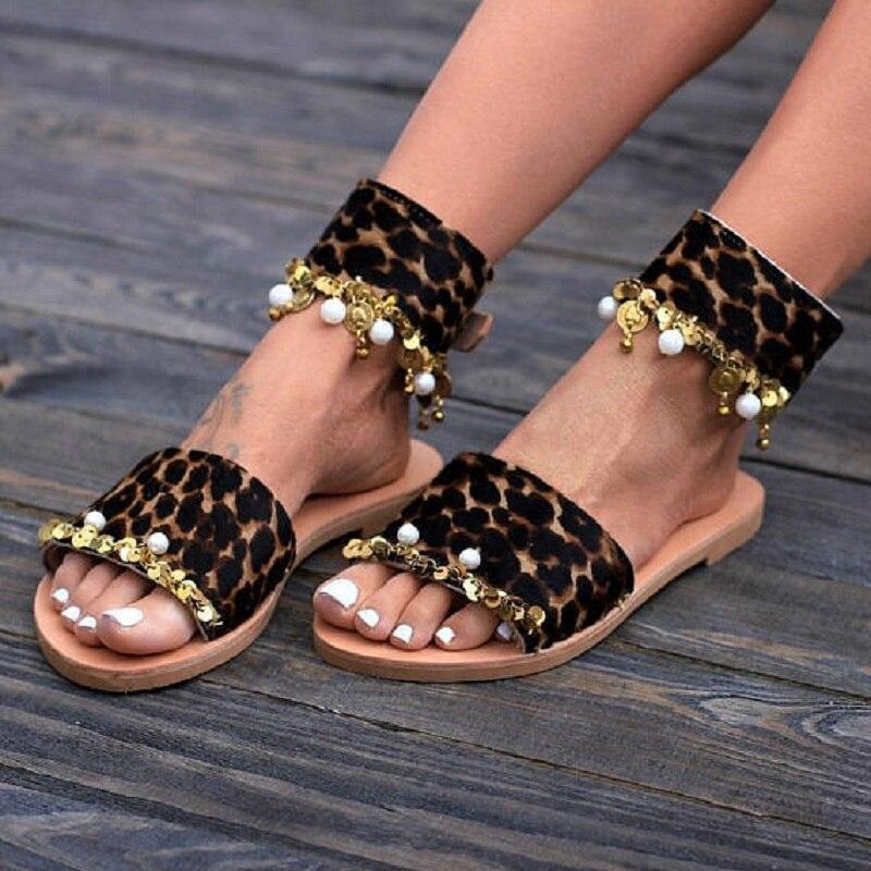Nieuwe Zomer Luipaard Sandalen Vrouwen Handgemaakte Kralen Boho Flats Sandalen Open Teen Gladiator Strand Schoenen Big Size Sandalias Mujer Online Winkel