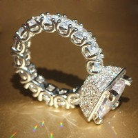 Акция! Настоящее Твердые 925 серебряные обручальные кольца ювелирные изделия для Для женщин квадратный 3 карат Sona CZ Diamant Обручение кольца акс