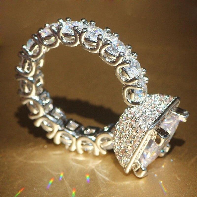 Promotion!!! réel Solide 925 Argent De Mariage Anneaux Bijoux pour Femmes Carré 3 Carat Sona CZ Diamant Bagues de Fiançailles Accessoires