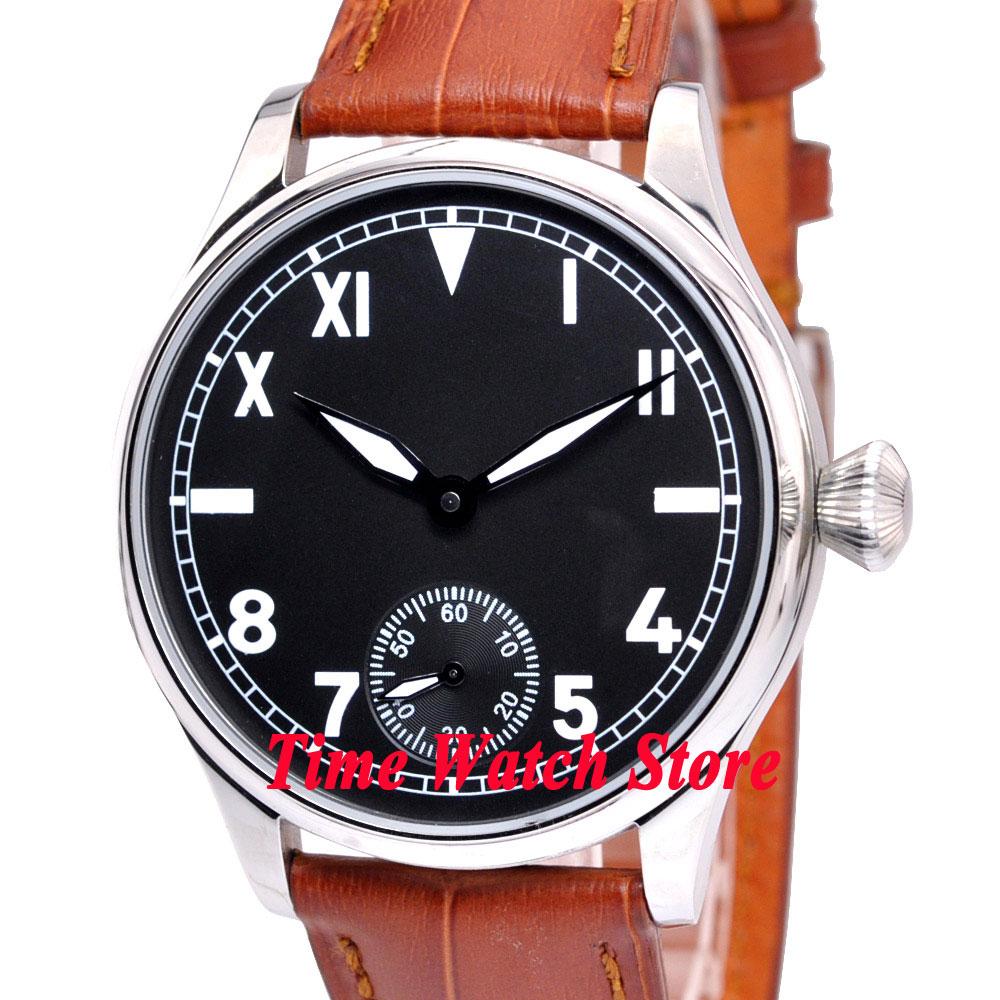 Saatler'ten Mekanik Saatler'de Vintage 44mm Parnis Hiçbir logo siyah california arama ışık 17 jewels mekanik Asya 6498 el sarma hareketi erkek saati P7'da  Grup 1