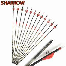 6/12Pcs 31 Archery Pure Carbon Arrows Spine 300 Arrowheads Points With Broadheads For Outdoor Shooting Practice Accessories