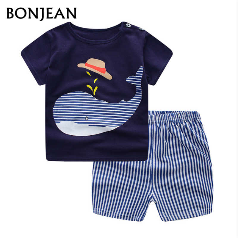 Baby Summer Clothes 2018 Newborn Boys Children Clothes Set 100% Cotton Baby Clothes Suit T-Shirt + Pants Children's Clothing fashion baby girl t shirt set cotton heart print shirt hole denim cropped trousers casual polka dot children clothing set