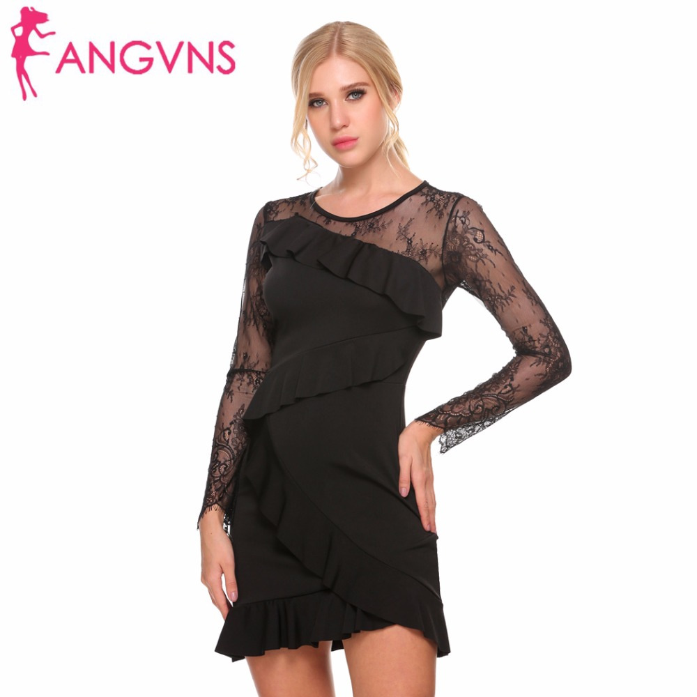 ANGVNS Women Bodycon Party Dresses Sexy Lace Patchwork Ruffles Autumn Long Sleeve Slim Sheath Formal Prom