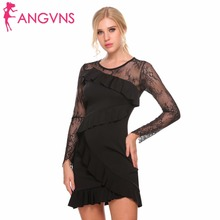ANGVNS Women Bodycon Party Dresses Sexy Lace Patchwork Ruffles Autumn Long Sleeve Slim Sheath Formal Prom Pencil Mini Dress