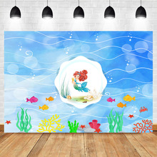 Mermaid Backgdrop Underwater World Birthday Party Photo Backdrop Coral starfish goldfish Photography Background