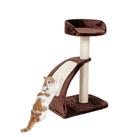 Cat Tree H66 Cm Brown Durable Sisal Scratching Post Funny High Quality Wood Climbing And Jumping