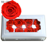 YO CHO High Quality 5 6cm Preserved Flowers Rose Gift Box DIY Flower Material Valentine'Day Gift Box 4 5cm Immortal Rose Flowers