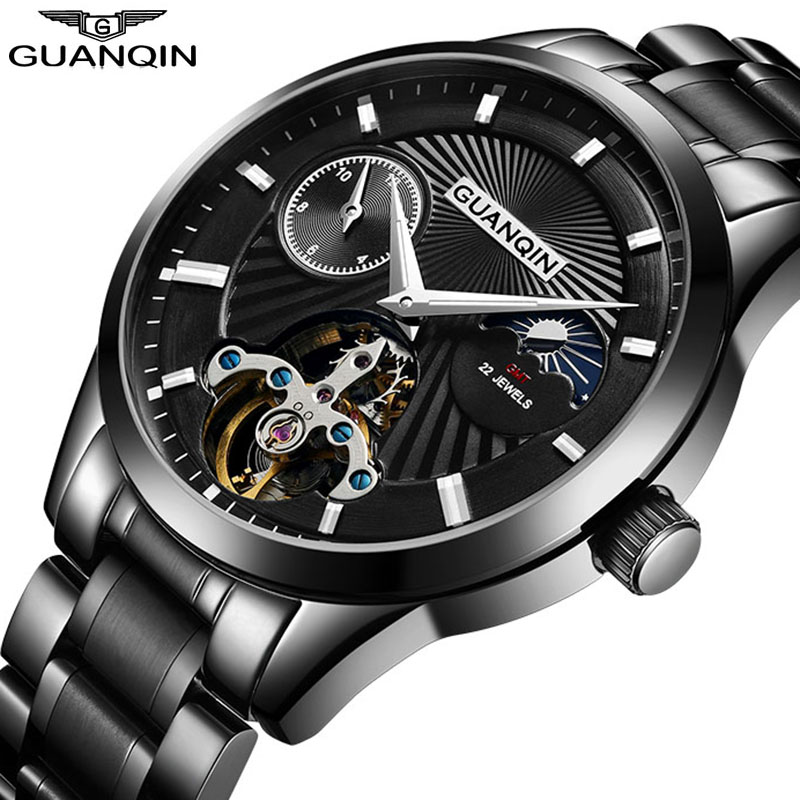 GUANQIN 2018 montre automatique de luxe Tourbillon hommes montres Phase de lune lumineux étanche plein acier mode montres mécaniques