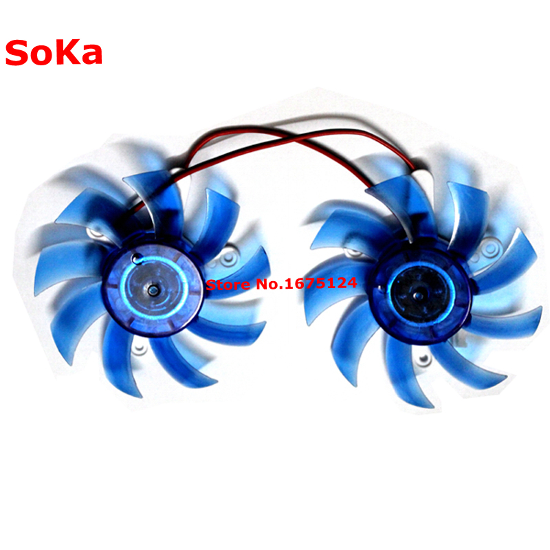 2piece/lot VGA Cooler Video Card Cooling Fan 75mm Graphics Cooler 12V 2-Pin 43mm*3 As Replacement for Heatsink 2pcs gpu rx470 gtx1080ti vga cooler fans rog poseidon gtx1080ti graphics card fan for asus rog strix rx 470 video cards cooling