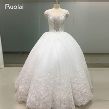 High Quality Custom Real Ball Gown Lace Wedding Dresses 2017 Dubai Vestido de Noiva con Renda Beaded Bridal Gown WS3
