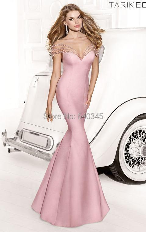 2014 New Mermaid Scoop robes de soirée perles cristal paillettes perles Tulle Satin cour Bow Train Long Prom Party robes E29