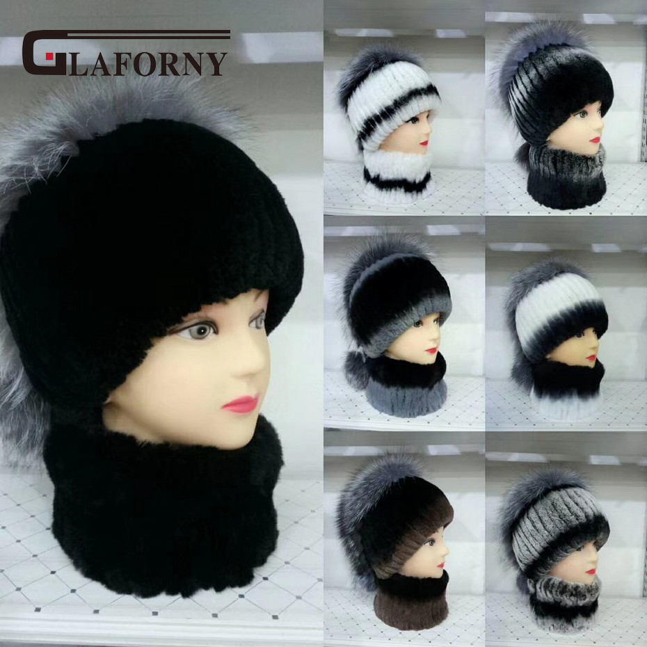 Glaforny 2018 New Women Real Rex Rabbit Fur Hat Scarf A Set Women Fashion Fur Caps With Silver Fox Fur Tops Apparel Accessories