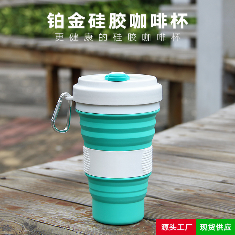 Folding Silica Gel Coffee Cup Commerce Hot Selling Multifunctional Water Direct Drinking Silicone With Lid Camping