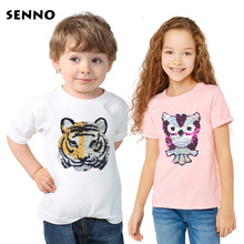 Glitter T shirt with Sequins Double Sided Reversible Sequin Kids Girls Boys t shirt Cool Tee Top Kids Color Changing Tshirt