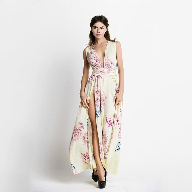 2017 Women Summer Elegant Beach Chiffon Clothing Ladies Bohemian Print Maxi Long Dress Chiffon Print Dresses Vosestid boho chic