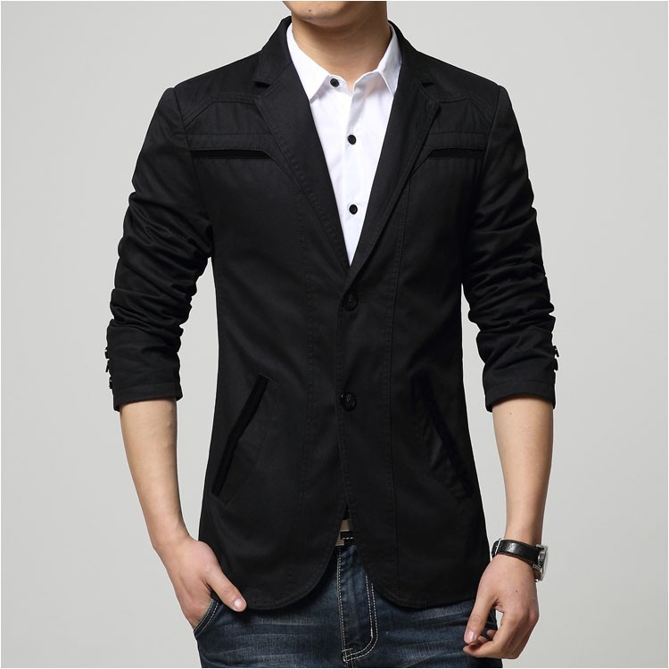 2015 Autumn Comfortable Cotton Blazers Men Two Buttons Solid Design Casual Blaser Jacket Blazer Masculino Slim Black grey khaki4