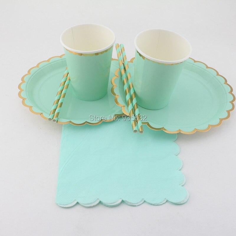 154pcslot party decoration metallic foil gold mint blue party tableware set paper plates paper cups paper napkins paper straws - Decorative Paper Plates