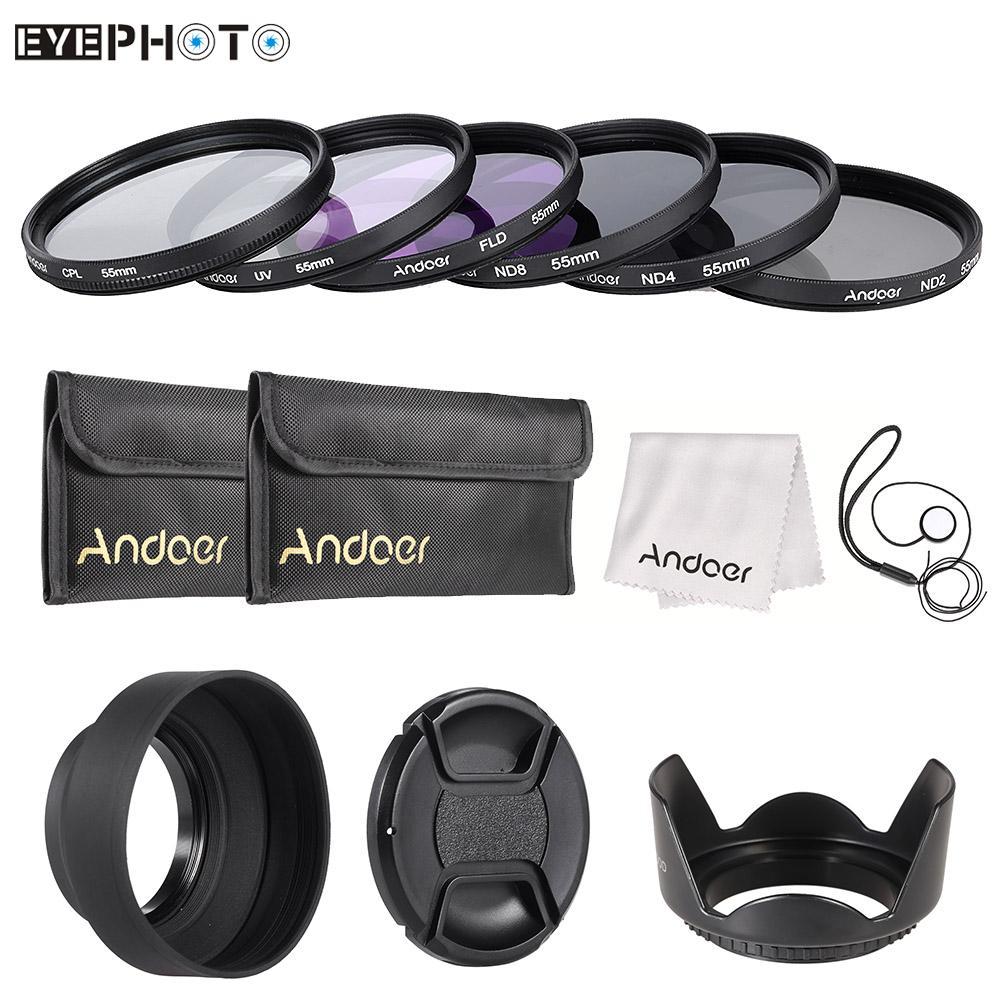 Prix pour Andoer 55mm Kit de Filtre UV + CPL + FLD + ND avec Étui de Transport/Lens Cap/Support de lentille/Tulipe & Rubber Lens Hottes/Chiffon De Nettoyage