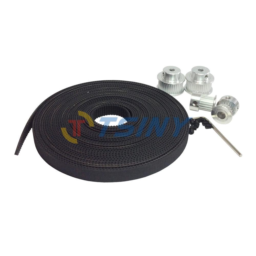 цена на HTD 3D GT2 2pcs Timing Pulley 16 Teeth Bore 5mm + 2pcs 36 Teeth Pulley Bore 5mm 8mm and 2GT Timing Belt 5 Meters Belt Width 9mm