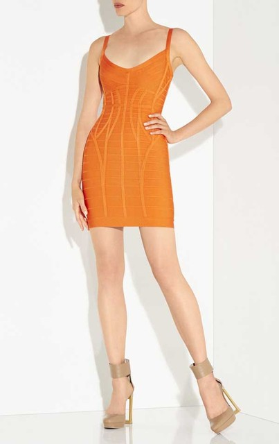 New Dress Orange And Yellow Stretch Sling Fashion Casual Tail Party Bandage L850