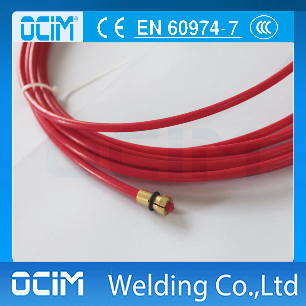 Aluminium Binzel style 2 x MIG Liner Teflon 1.0mm to 1.2mm 5 Meter Red