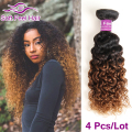 8A Ombre Brazilian Virgin Human Hair Kinky Curly Ombre Brazilian Hair 4 Bundles T1B 30 Ombre Brazilian Curly Hair Weave Bundles