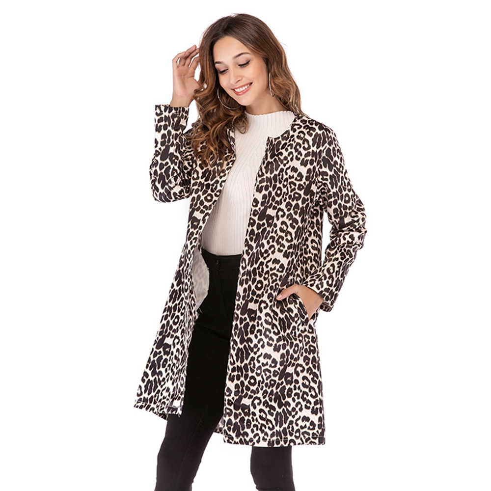 Elegant Leopard Print   Trench   Coat Women 2019 Autumn Winter Warm Soft Overcoat Female Plush Casual Outwear Coat pocket