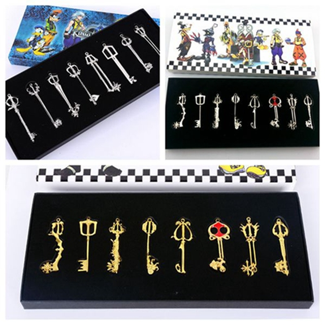 8pcsset game kingdom hearts keyblade three type sora cosplay 8pcsset game kingdom hearts keyblade three type sora cosplay weapons necklace metal figure toy aloadofball Image collections
