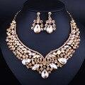 Свадебные Украшения Позолоченный Кристалл Ожерелье Серьги для Женщин Мода Индийские Свадебные Комплекты Ювелирных Изделий