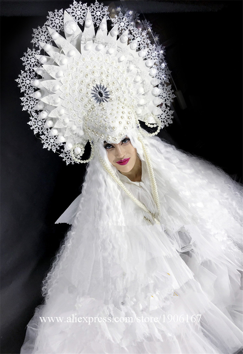 White ladies DS Ice Queen Christmas party costumes8