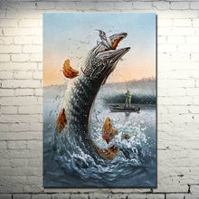 Fisherman Canoe Hook Fishing Pisces Jump Painting Style Art Silk Poster 13x20inch (NEW)(China)