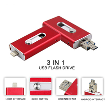 Nueva Moda 3 en 1 OTG Flash Drive 64 gb de memoria de almacenamiento mini metal usb pen drive para apple android dispositivos móviles pc computer