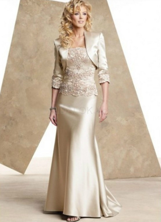 Free Shipping 2019 New Champagne Satin Mother Of The Bride Dresses Floor Length Evening Dress With Jacket Appliques A-L