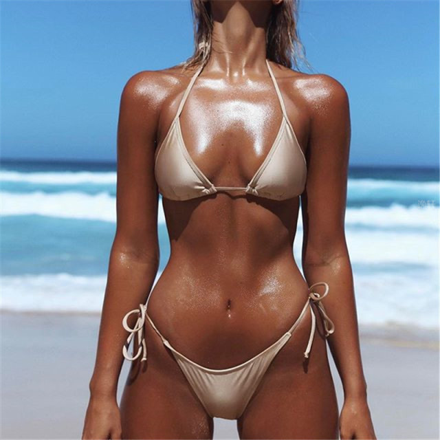 Solid Micro Thong Bikini Set De Bain Womens Swimwear Summer Beach String Lady Bikinis Sexy Female