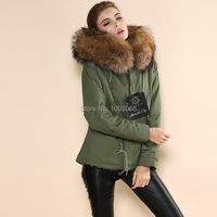 casual style army green with barkla removeable real fox fur hood women parka jackets
